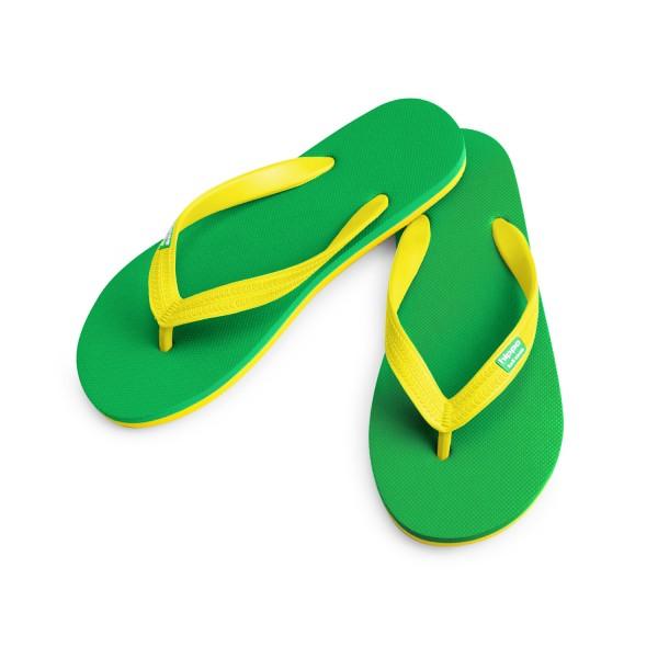Hippobloo Flip Flop grün-gelb aus Naturkautschuk BPAfrei vegan