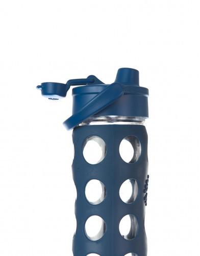 Lifefactory Trinkflasche aus Glas 475ml mit Sport Cap Flip Top Cap