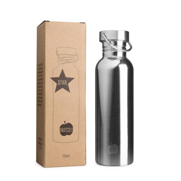 Brotzeit STAR Trinkflasche aus Edelstahl plastikfrei BPAfrei in 2 Grössen