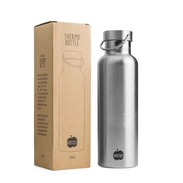 Brotzeit Thermosflasche aus Edelstahl plastikfrei 0,75l Trinkflasche