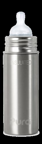 Pura Kiki Sippy 250ml isolierte Trinklernflasche Edelstahl BPA frei