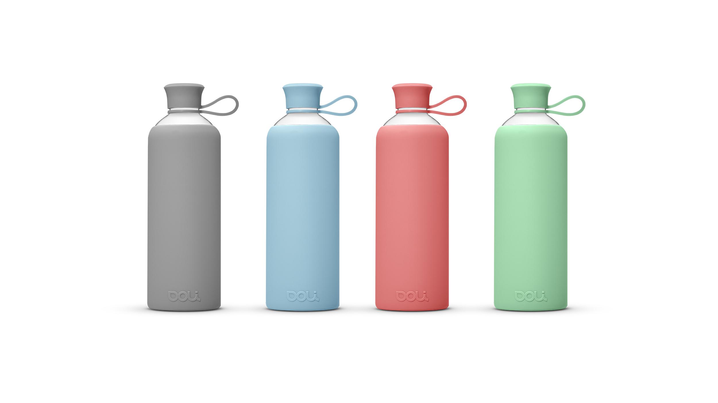 doli trinkflasche aus glas mit silikonh lle 550ml flasche mit h lle aus silikon pure and green. Black Bedroom Furniture Sets. Home Design Ideas