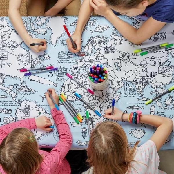 eat sleep doodle Tischtuch Tischdecke zum bemalen mit Weltkarte und auswaschbaren Stiften