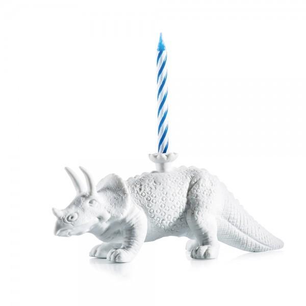 Kerzenständer Dinosaurier Dion Porzellan weiss