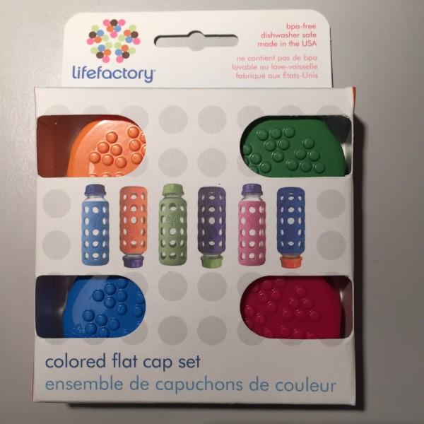 Lifefactory Cap Deckel Schraubverschluss 4er Set bunt für Trinkflaschen aus Glas 260ml und 120ml