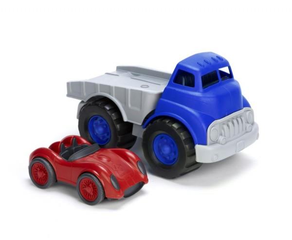 Greentoys Autotransporter + Rennwagen aus Milchverpackung Alter 1+