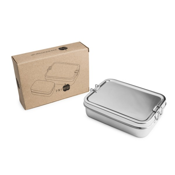 Brotzeit Lunchbox 2in1 Two-in-one Brotdose Jausenbox aus Edelstahl
