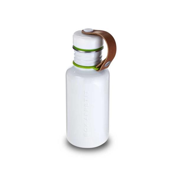 Trinkflasche aus Edelstahl weiss BPAfrei im Retro Style vegan