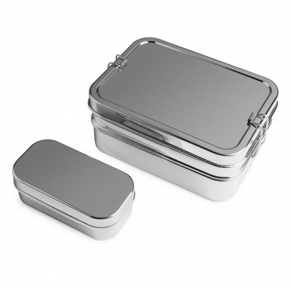 Brotzeit Lunchboxen 3in1 BIG Three-in-one Brotdose Jausenbox aus Edelstahl 100% BPA frei fest versch