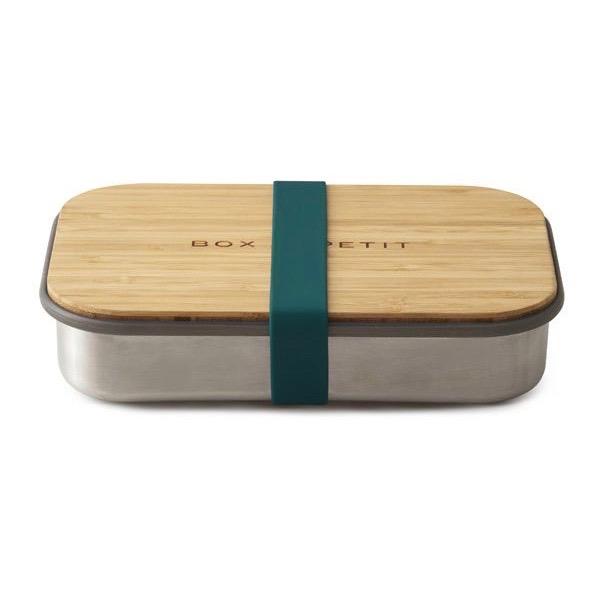lunchbox aus edelstahl mit bambusbrett und silikonband pure and green. Black Bedroom Furniture Sets. Home Design Ideas