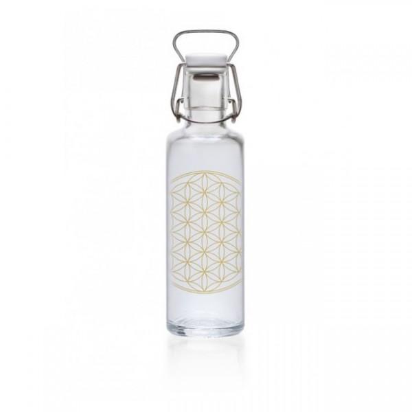 Soulbottles 1l Flower of Life Trinkflasche Wasserflasche Glasflasche