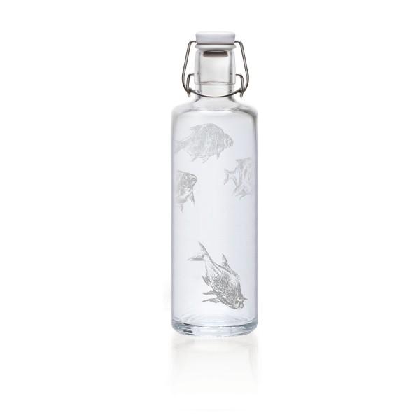 Soulbottles 1l Silberfische Trinkflasche Wasserflasche Glasflasche