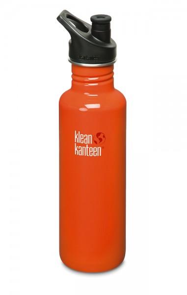 Klean Kanteen Classic Edelstahl Trinkflasche 800ml mit Sport Cap 27oz