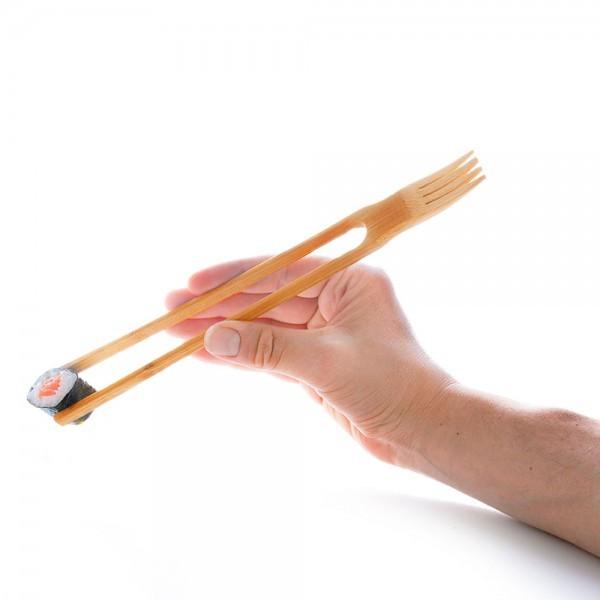 YUMMY Essstäbchen Stäbchen Gabel aus Bambus