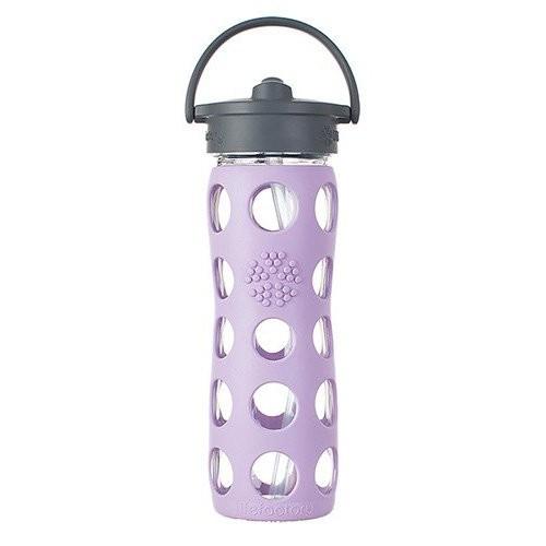 Lifefactory Trinkflasche aus Glas 475ml mit Straw Cap 16oz BPAfrei