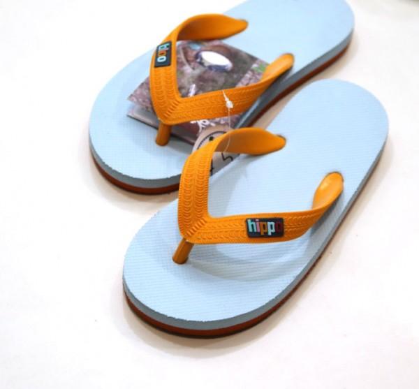 Hippobloo Flip Flop für Kinder hellblau orange aus Naturkautschuk BPAfrei vegan Hippo Bloo