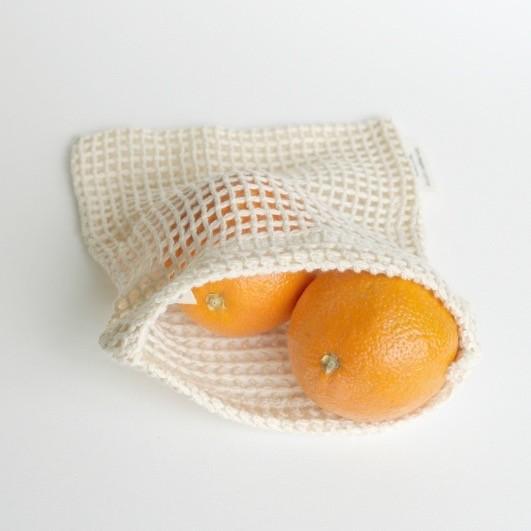Re-Sack 2er Set Netz klein Obstnetz Aufbewahrungsnetz aus Biobaumwolle GOTS