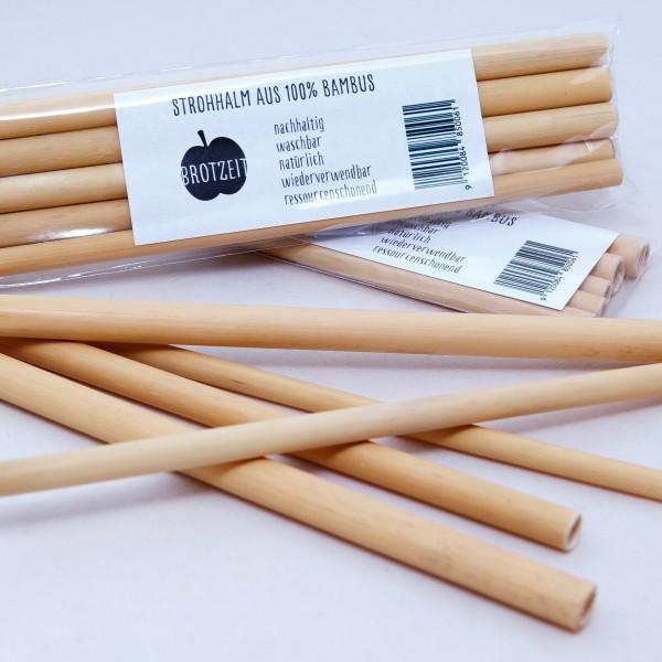 Brotzeit Trinkhalme aus Bambus 5er Set Strohhalme plastikfrei