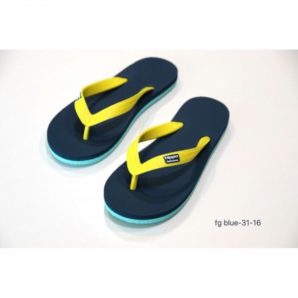 Hippobloo Flip Flop für Kinder blau türkis gelb Caracas aus Naturkautschuk BPAfrei vegan