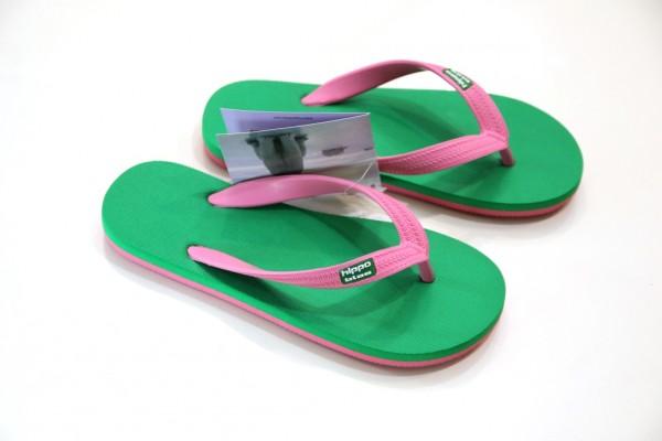 Hippobloo Flip Flop pink grün aus Naturkautschuk BPAfrei vegan Hippo Bloo