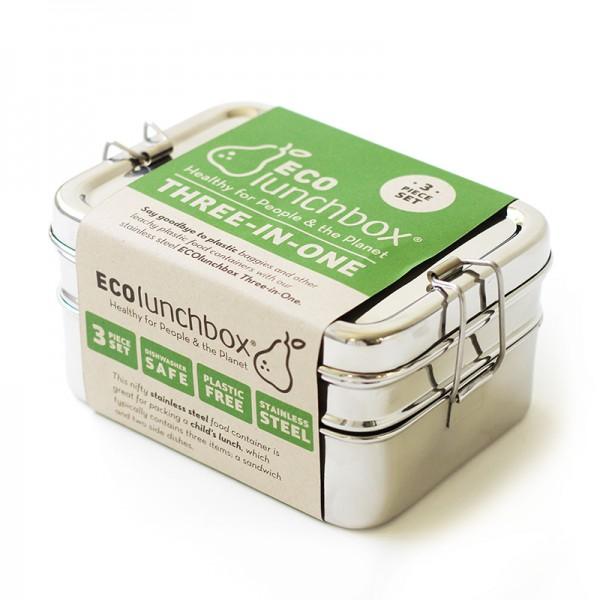 Eco Lunchbox Three-in-One Brotdose Jausenbox Edelstahl 100% BPA frei fest verschliessbar 3in1