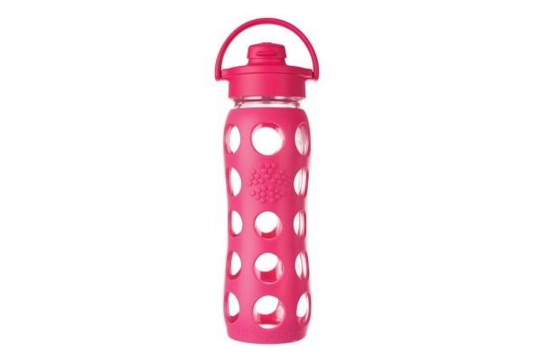 Lifefactory Trinkflasche aus Glas 650ml mit Sport Cap Flip Top Cap 22 oz