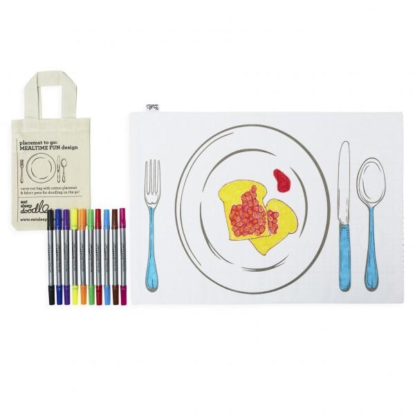 eat sleep doodle Platzset zum bemalen mit auswaschbaren Stiften