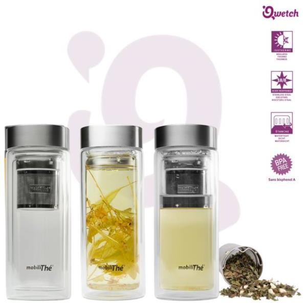 Qwetch Teekanne to go Tee Thermosflasche aus Glas 0,35l BPA frei mobiliThe