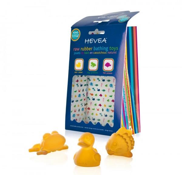 Hevea Pond Badespielzeug aus Naturkautschuk 3teilig Frosch Ente Fisch BPAfrei