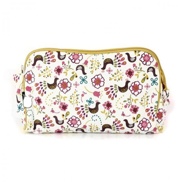 Keep Leaf Kosmetiktasche flach Toiletttasche Make up Tasche aus Bio Baumwolle waschbar Schminktasche