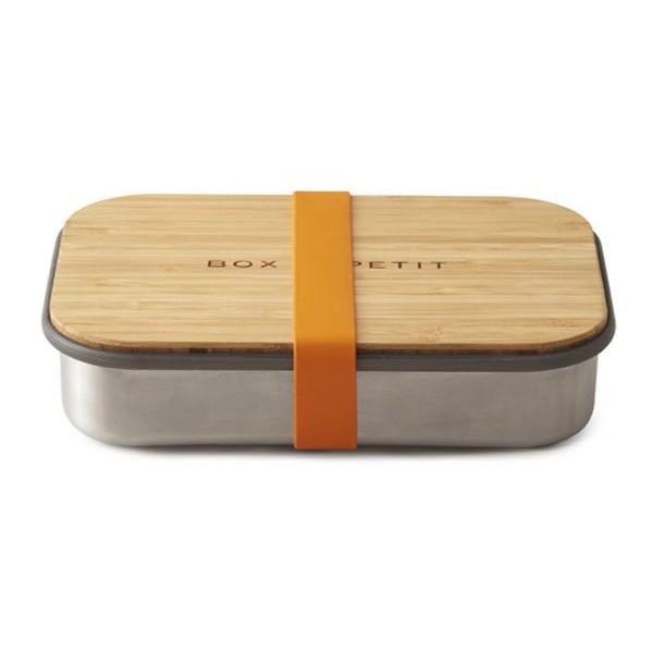 black & blum Lunchbox aus Edelstahl mit Bambusbrett und Silikonband